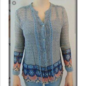 Lucky Brand sheer long sleeve blouse